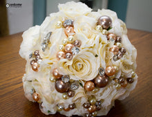 Load image into Gallery viewer, Rose Crystal Wedding Flower Bouquets with Pearls and Crystals-Keepsake Bouquet - Bridal Crystal Bouquets
