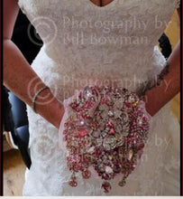 Load image into Gallery viewer, Fabulous Sparkly Pink Crystal Brooch Wedding Bouquet - Bridal Crystal Bouquets