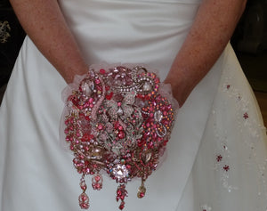Fabulous Sparkly Pretty In Pink Crystal Brooch Wedding Bouquet Keepsake by Bridal Crystal Bouquets