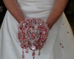 Sparkly Silver Wedding Bouquet Made With Beautiful Brooches - Bridal Crystal Bouquets