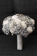 Load image into Gallery viewer, Luxurious Silver Crystal Brooch Bouquet for a wedding bride
