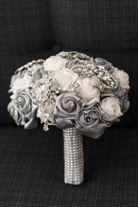 This is an image of our Luxurious Silver Crystal Brooch Wedding Bouquet For A Traditional Wedding - Bridal Crystal Bouquets