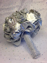 Load image into Gallery viewer, This is an image of a side view of our Luxurious Silver Crystal Brooch Wedding Bouquet For A Traditional Wedding by Bridal Crystal Bouquets