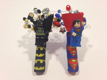 Load image into Gallery viewer, Minifigure Marvel Batman and superman buttonhole for a grooms wedding