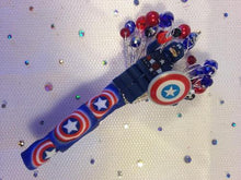 Load image into Gallery viewer, Minifigure Marvel captain america buttonhole for a grooms wedding