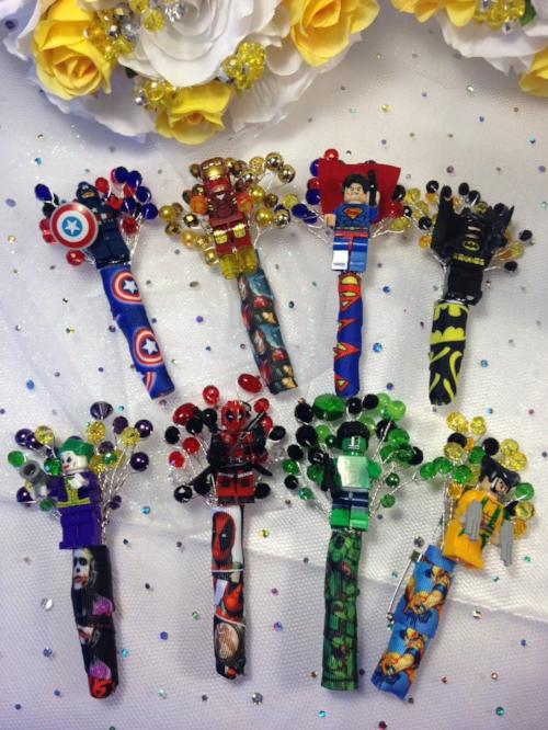 Marvel Minifigure Character Wedding Buttonholes For A Marvel Wedding - Bridal Crystal Bouquets