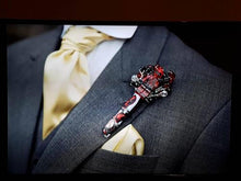 Load image into Gallery viewer, Minifigure Marvel Deadpool buttonhole for a grooms wedding