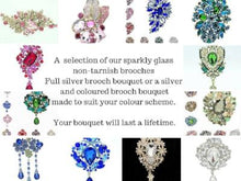 Load image into Gallery viewer, This is an image of a selection of our brooches for our Fabulous Sparkly Pink Crystal Brooch Wedding Bouquet - Bridal Crystal Bouquets
