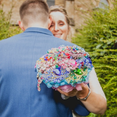 Rainbow Sparkly Crystal Brooch Wedding Bouquet-Colour Explosion! - Bridal Crystal Bouquets
