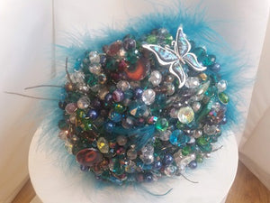 Peacock Crystal Wedding Bouquet by Bridal Crystal Bouquets-Ex-Display - Bridal Crystal Bouquets