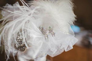 Pretty Feather Vintage Brooch Wedding Bouquet With Feathers and Crystals - Bridal Crystal Bouquets