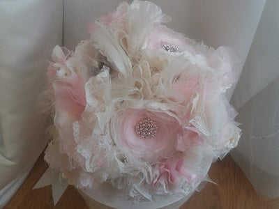 This is an image of a Pretty Pink Handmade Fabric Wedding Bouquet by Bridal Crystal Bouquets