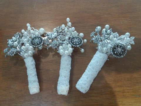Beautiful brooch vintage buttonhole for a groom or mother of the bride corsage and wedding keepsake