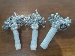 Beautiful brooch vintage buttonhole for a groom