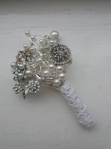 Pretty Vintage Brooch Wedding Buttonhole Corsage - Bridal Crystal Bouquets