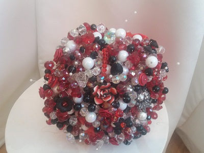 This is an image of the front of our Red,Black and White Crystal Wedding Bouquet For a Bride