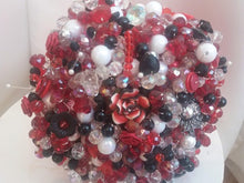 Load image into Gallery viewer, Red,Black and White Crystal Wedding Bouquet For a Bride - Ex Display - Bridal Crystal Bouquets
