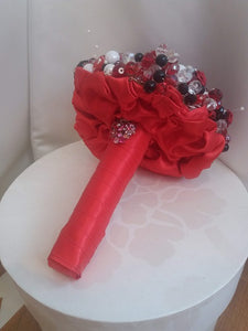 Red,Black and White Crystal Wedding Bouquet For a Bride - Ex Display - Bridal Crystal Bouquets
