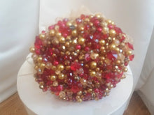 Load image into Gallery viewer, This is a front image of our Beautiful Red And Gold Crystal Wedding Bouquet
