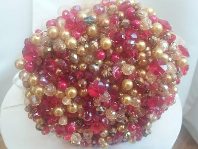 Beautiful Red And Gold Crystal Wedding Bouquet for an Asian wedding