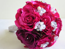 Load image into Gallery viewer, Lilac And Pink Silk Rose Keepsake Wedding Bouquet with Pearls and Crystals