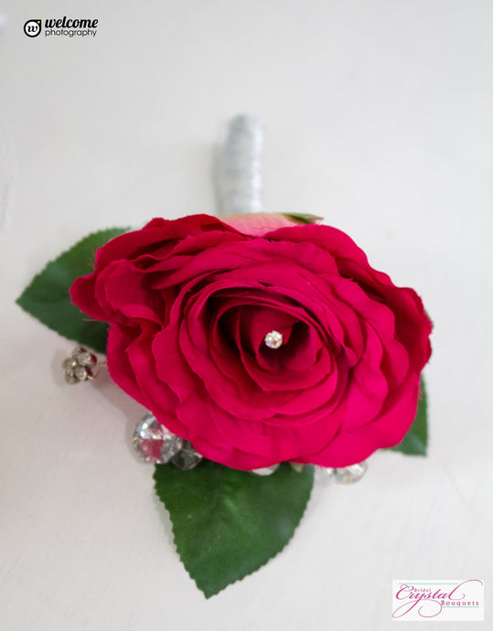Silk Rose Artificial Wedding Buttonholes With Crystals