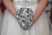 Load image into Gallery viewer, Swarovski Crystal and Brooch Teardrop Bouquet for a sparkly wedding