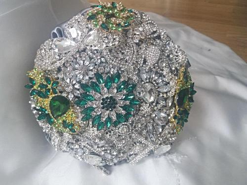 Sparkly Silver Touch Of Colour Crystal Brooch Wedding Bouquet - Bridal Crystal Bouquets
