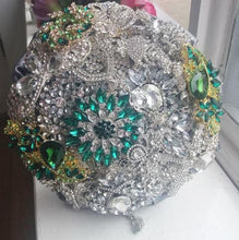 Load image into Gallery viewer, Sparkly Silver Crystal Brooch Wedding Bouquet For A Scottish Wedding - Bridal Crystal Bouquets