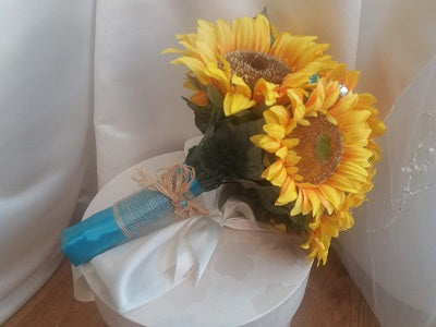 This is an image of the side of our Sunflower and crystal wedding bouquet for a country wedding
