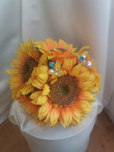 Load image into Gallery viewer, This is an image of the front of a Sunflower and crystal wedding bouquet for a country wedding