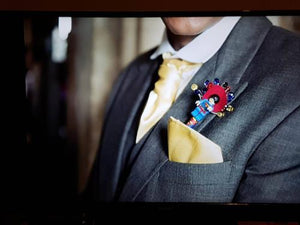 Minifigure Marvel Superman buttonhole for a grooms wedding