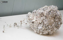 Load image into Gallery viewer, Swarovski Crystal and Brooch Teardrop Wedding Bouquet - Bridal Crystal Bouquets