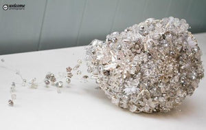 Swarovski Crystal and Brooch Teardrop Wedding Bouquet - Bridal Crystal Bouquets