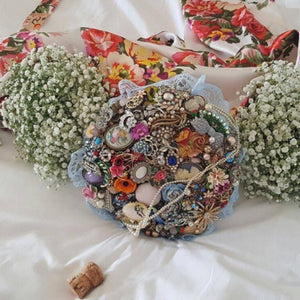 Cassie Vintage Bridal Brooch Bouquet For a Quirky Vintage Wedding - Bridal Crystal Bouquets