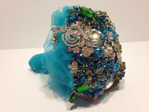 Sparkly Turquoise Peacock Brooch Wedding Bouquet - Bridal Crystal Bouquets