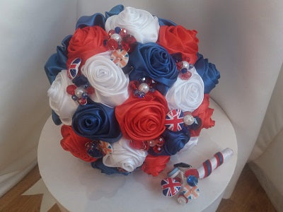 Union Jack Satin Rose Wedding Bouquet- Ex-Display