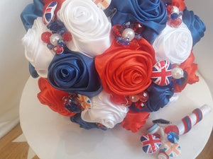 Union Jack Satin Rose Wedding Bouquet- Ex-Display - Bridal Crystal Bouquets