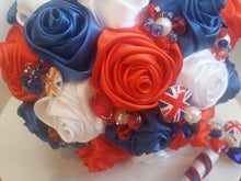 Load image into Gallery viewer, Union Jack Satin Rose Wedding Bouquet- Ex-Display - Bridal Crystal Bouquets