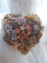 Load image into Gallery viewer, Vintage Heart Brooch Wedding Bouquet - Bridal Crystal Bouquets