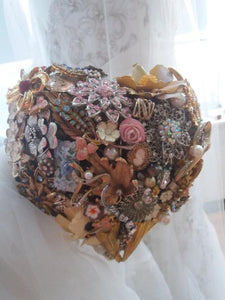 Vintage Heart Brooch Wedding Bouquet - Bridal Crystal Bouquets