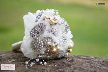 Load image into Gallery viewer, Vintage Pearl Brooch Wedding Bouquet - Bridal Crystal Bouquets