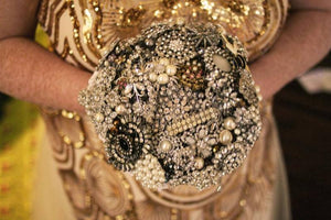 Gemma Silver Vintage Brooch Bouquet for a brides wedding