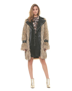 Leatherette and faux fur double breasted coat