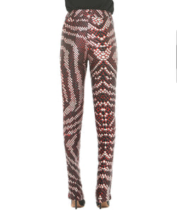Python pattern high waisted trousers