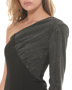 One shoulder dress with rhinestones