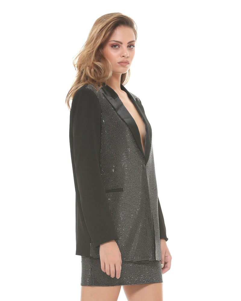 Mixed satin blazer