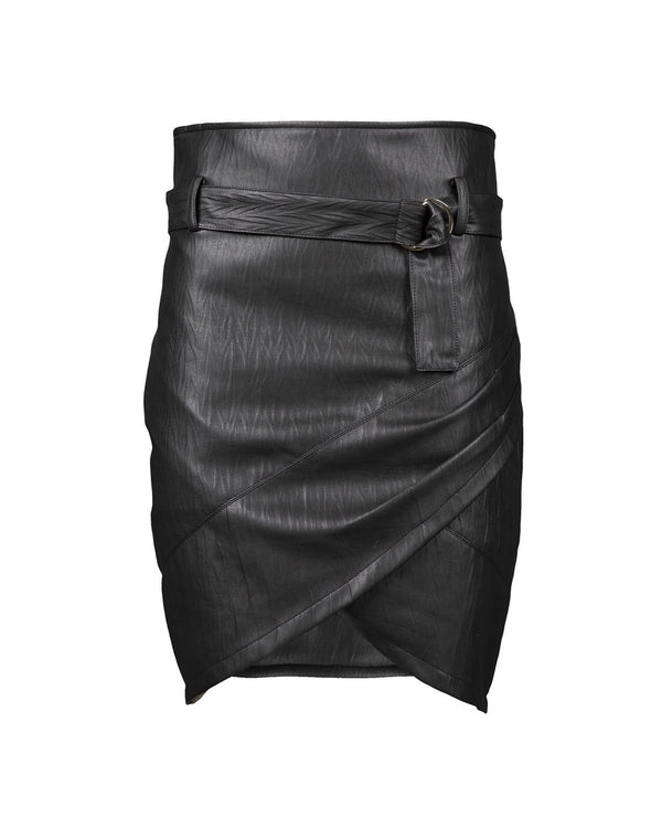 Wrap leatherette skirt