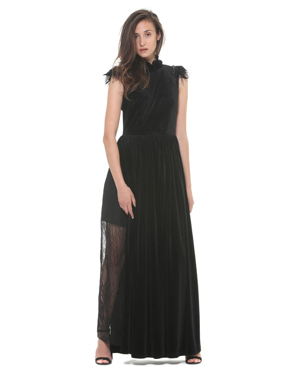 Long velvet dress feather on shoulders