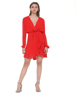 Waisted wrap dress flounce on bottom